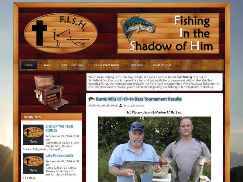 Fishing in the Shadow of Him Custom Web Design