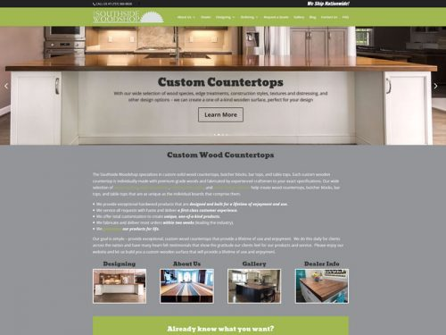 Customwood Countertops custom web design