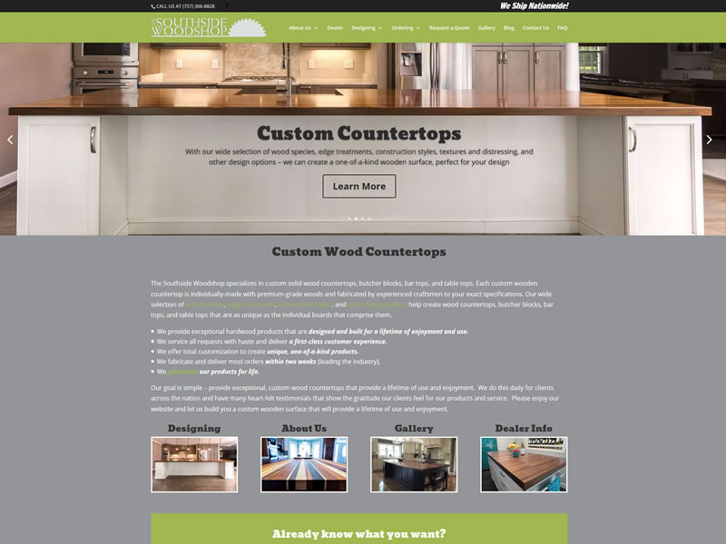 Customwood Countertops custom web design